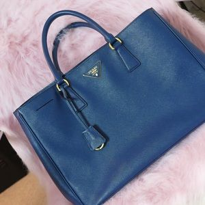 Prada Saffiano Tote in Royal Blue
