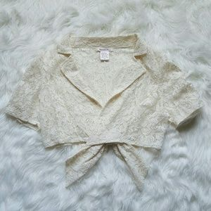 Sweaters - Cream Lace Cardigan w/ back Bow