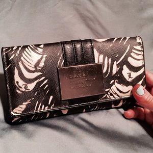 L.A.M.B. Signature Fold Over wallet, black/white