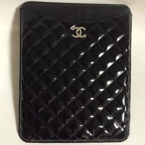 CHANEL Authentic Black Leather iPad Case Holder