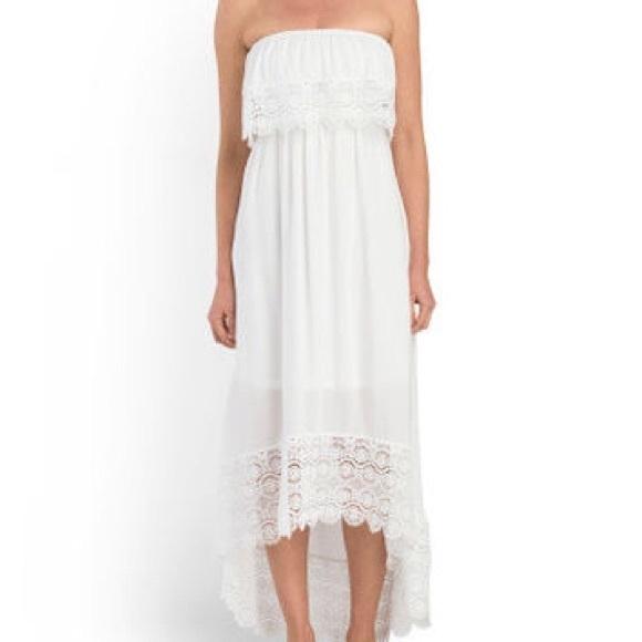 01ac0902b86 Solitaire swim white floral lace trim tube dress M