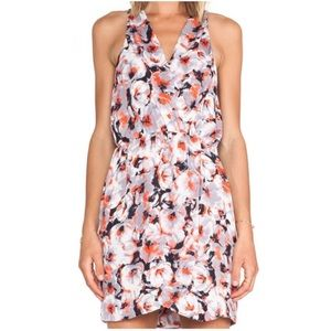 Parker Winnie Tango Floral Print V-Neck Silk Dress