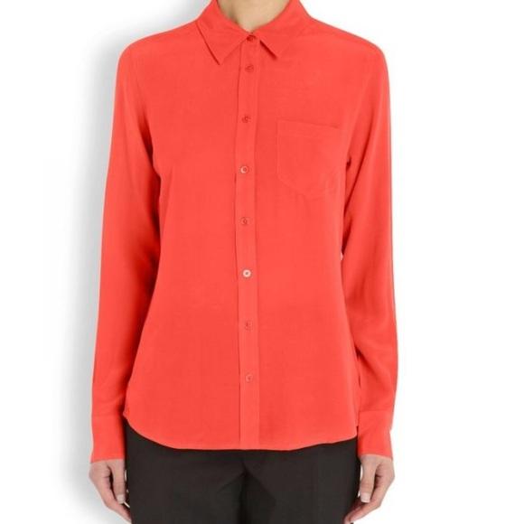 88eb09625051d Equipment Tops - Equipment Brett Coral top Long Sleeve Silk Shirt
