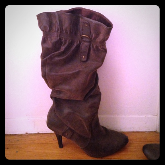 63 unknown shoes brown slouch knee high boots from