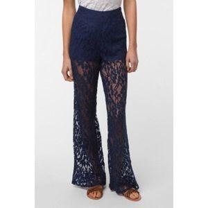 Ecote Blue Wide Leg Lace Pant