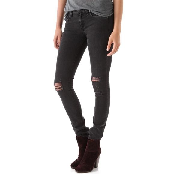 43% off rag u0026 bone Denim - Rag u0026 Bone Black Skinny Jeans with Holes from Alexandrau0026#39;s closet on ...