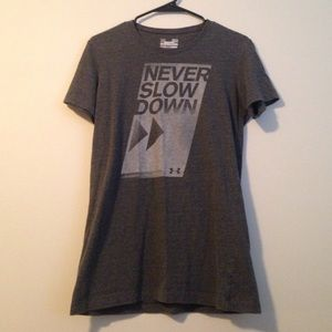 never slow down dark grey under amour t-shirt