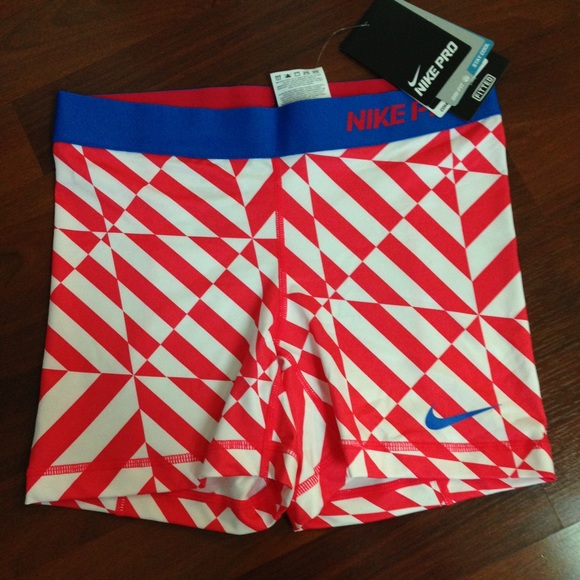 Nike - NEW Red white blue geometric print Nike Pro Shorts from ...