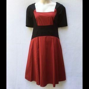 New Eshakti Red & Black Color Block Dress L 14