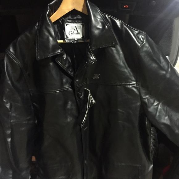 Armani leather jacket men