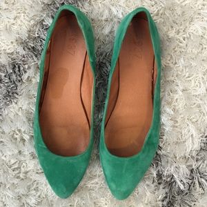 Madewell green flat skimmers, 9