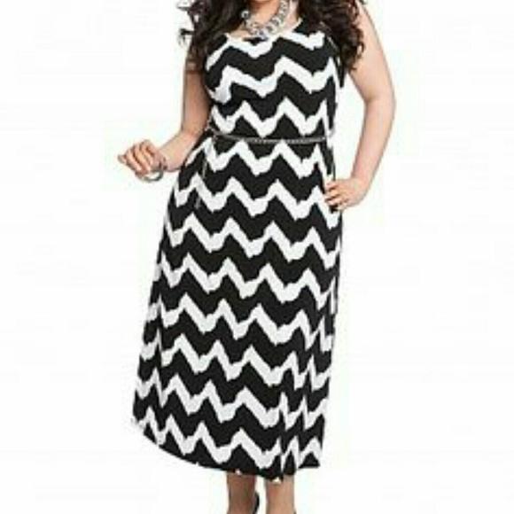 6141ceca367 Ashley Stewart Dresses   Skirts - LAST CALL Black   White Striped Chevron  Dress