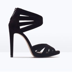 HPNWT ZARA black high heel suede sandals