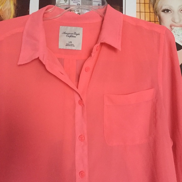 American Eagle Outfitters Tops Neon Pink Button Up