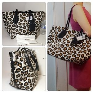 New Coach large white ocelot leopard leather tote