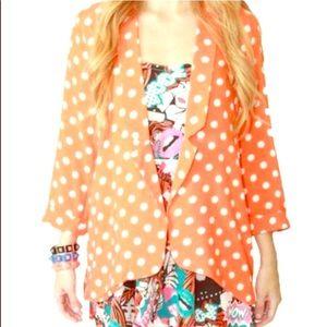 MINKPINK Jackets & Blazers - MinkPink Orange Polka Dot Blazer