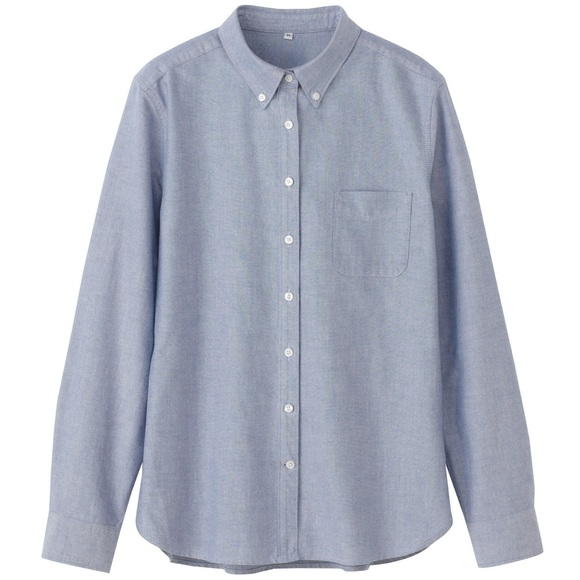 43 off muji tops muji light blue oxford button up shirt. Black Bedroom Furniture Sets. Home Design Ideas