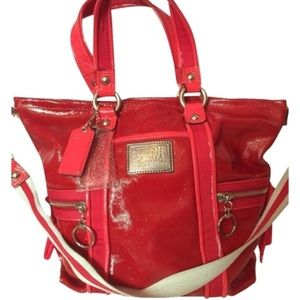 Coach Poppy Red Patent Leather Tote