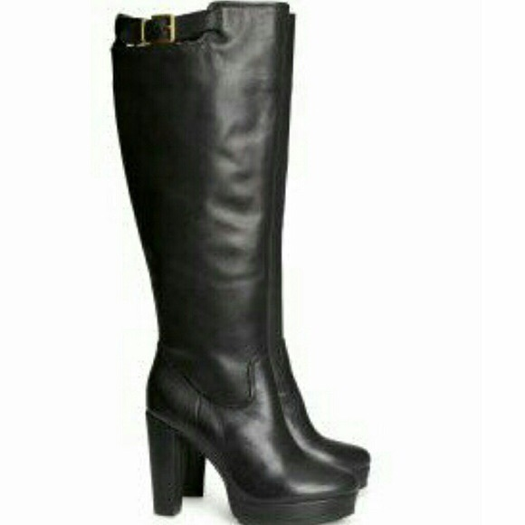 75 h m shoes black leather knee high boots from