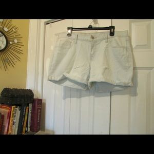 Pale blue & white Railroad Stripe Shorts