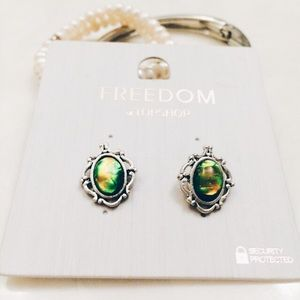 Topshop Jewelry - • Green Abalone Earrings •