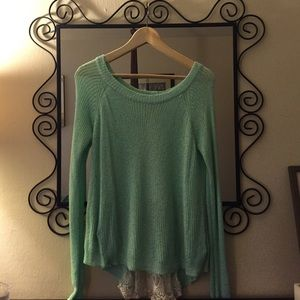High low mint sweater