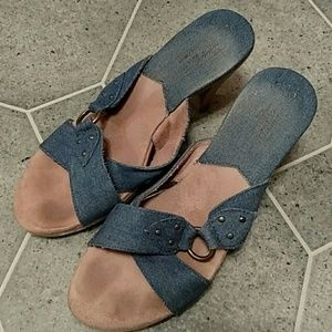 Denim and faux suede heeled sandals