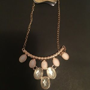 White Facet Oval Necklace