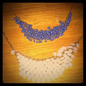 Two gold and beaded statement necklaces