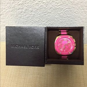 Hot pink & gold Authentic Michael Kors watch