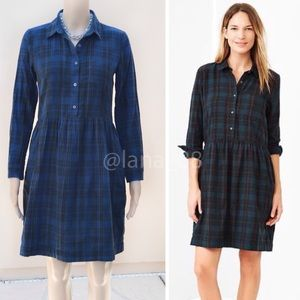 NWT Gap XS/S Plaid Flannel Shirtdress