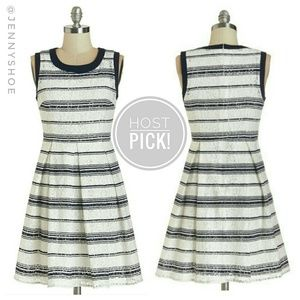 {modcloth} striped lace fit and flare dress