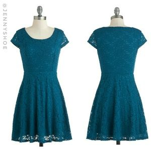 {modcloth} teal lace fit & flare dress