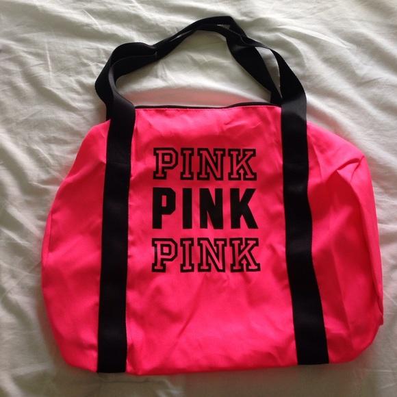 PINK Victoria s Secret Bags   Vs Pink Neon Pink Duffle Bag   Poshmark c7b231b502