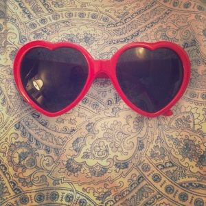Red heart shaped sunglasses 