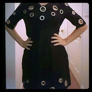 Navy 70's Style Cutout Dress