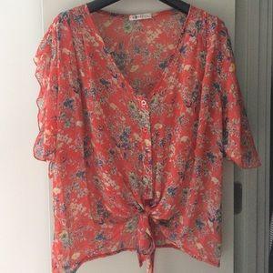 LF Floral Crop Shirt