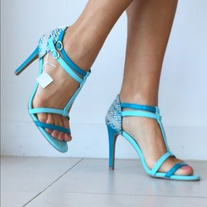 Christian Siriano Shoes - Strappy Turquoise Heels