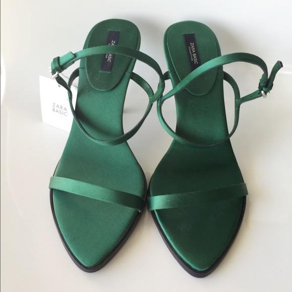 Zara Shoes | Zara Green Satin Heels