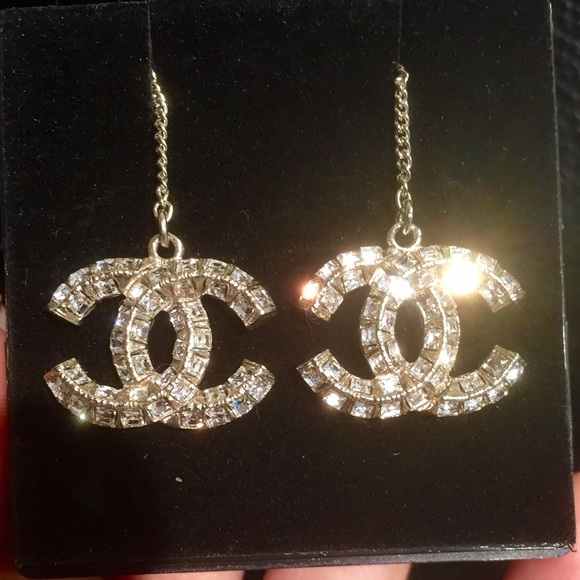 216357298 CHANEL Jewelry - *SOLD* Chanel CC crystal drop earrings. 😍😍