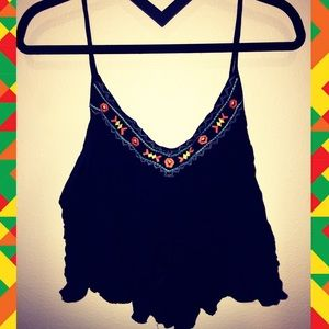 Flowy Embroidered Crop Top