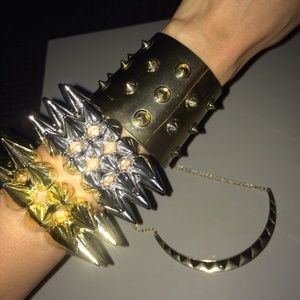 Spike triangle gold silver cuff bracelet necklace