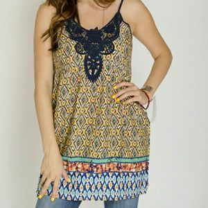 Tops - Ikat & Lace tunic - L