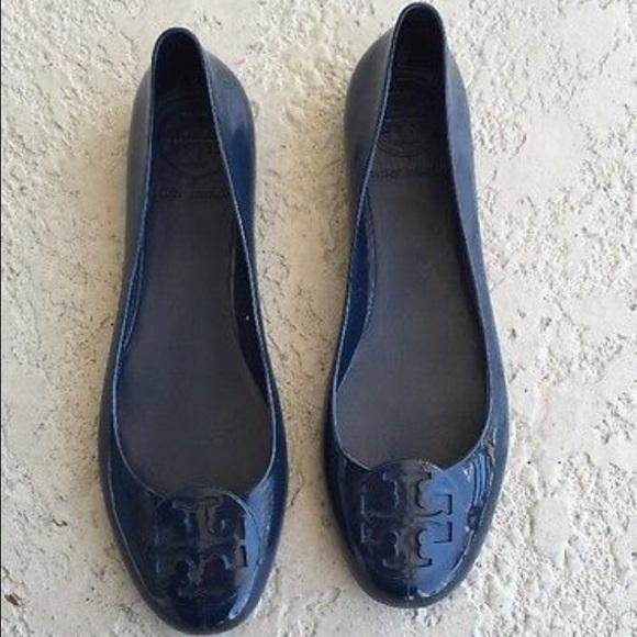 Tory Burch Navy Blue Reva Jellies Ballet Flats