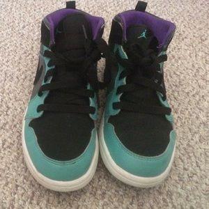 Purple black light teal neon rainbow air Jordans