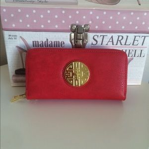 NEW Red double zipper wallet