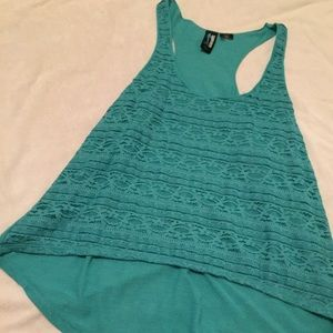 NWOT teal lace detailed high low top