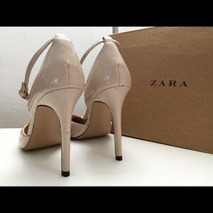 155ec5c6e98 Zara Shoes - ZARA nude t-bar strap low cut pointy heels shoes