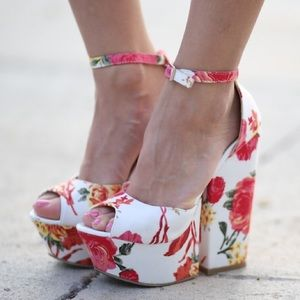 Beau + Ashe Shoes - Floral Platforms