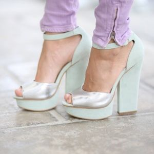 silver and mint heels